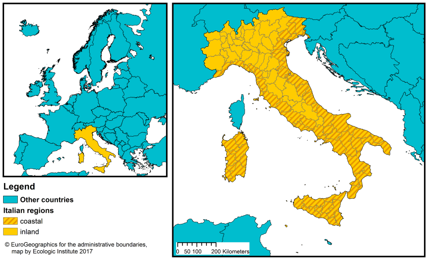 Map Of Provinces In Italy.Italy Coastal Management Webguide Risc Kit